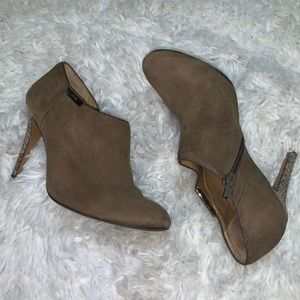 Coach•Suede Snake Skin Stiletto Ankle Booties 5